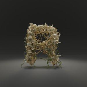 letter r bones skeleton 3D