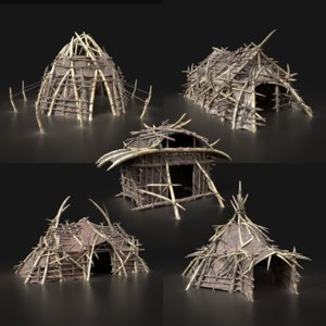 3D aaa orc tents houses