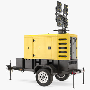 3D mobile generator lighting mast model