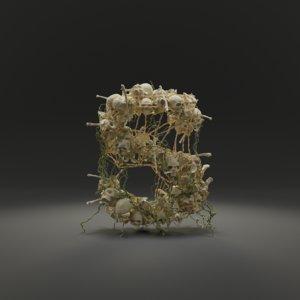 letter s bones skeleton 3D model