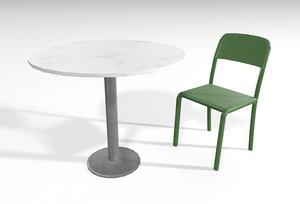 3D street table chair