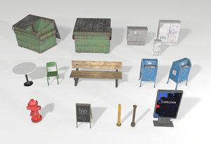 street props sets 3D model