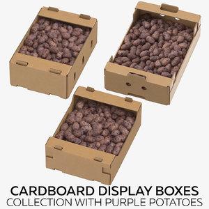 cardboard display boxes purple 3D