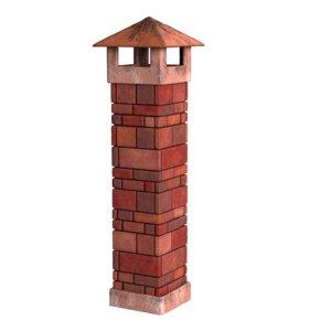 3D chimney red bricks model