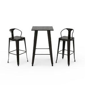 tolix bar stool 3D model