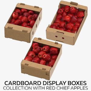 3D cardboard display boxes red