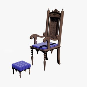 3D furniture ottoman armchair seating model