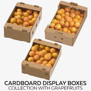 cardboard display boxes grapefruits 3D model