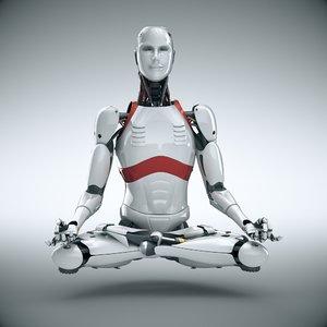 3D cyborg robot man