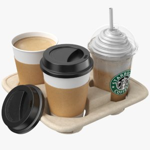 real drinks tray cup 3D model