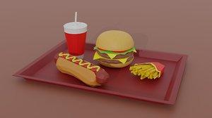 fastfood burger hotdog fries 3D model