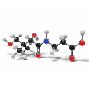 3D pantothenic acid molecule c9h17no5