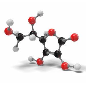 3D model ascorbic acid molecule c6h8o6