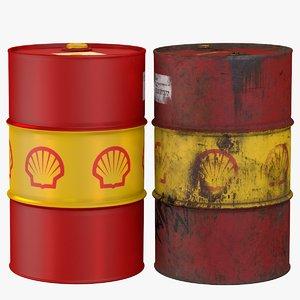 3D shell steel oil barrel model