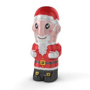 3D model foil chocolate santa christmas