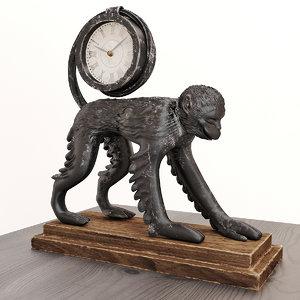 antique monkey clocks 3D model