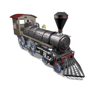 3D train locomotive railroad