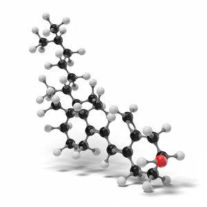 3D cholecalciferol molecule c27h44o modeled