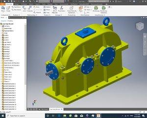 2 steep speed reducer gearbox 3D model