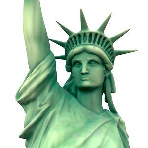 3D model modeled statue liberty
