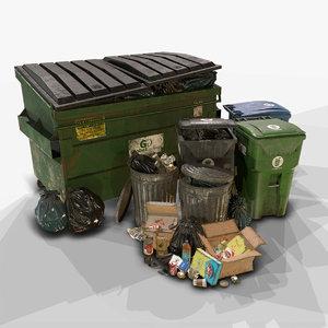 3D pack urban trash 3 model
