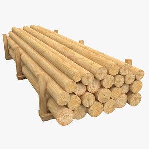 3D wood wooden log model