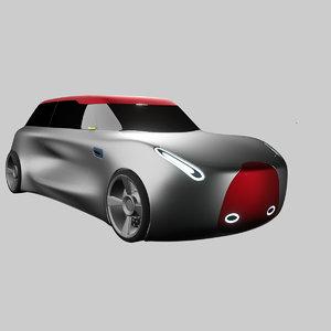3D concept styled electric hatchback model