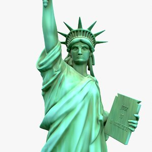 3D model modeled statue liberty