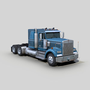 3D model w900 semi truck