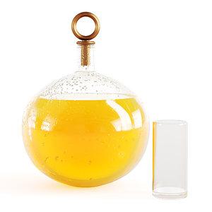 3D decanter orange juice water drops