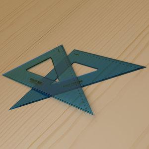 plastic set squares 3D