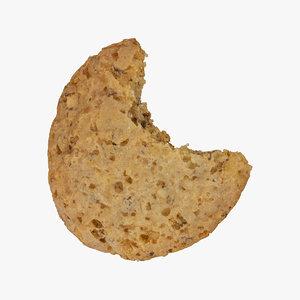 3D model walnut cookie 01 bitten