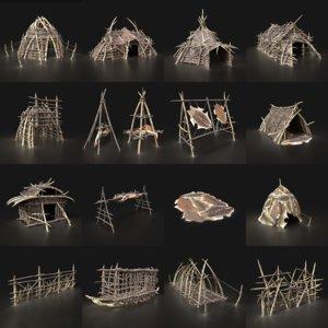 3D aaa camp primal men model