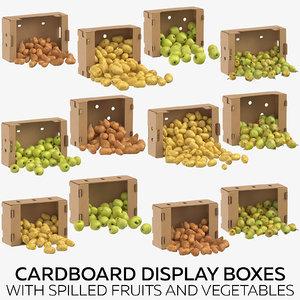 3D model cardboard display boxes spilled