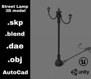 3D street lamp sketchup blender