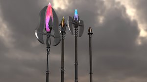 staves level1-4 magic staff 3D model