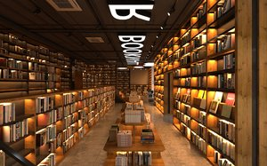 3D model book bookshop bookstore