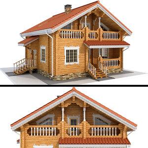 3D log house - rounded model