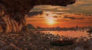 beach sunset 3D model