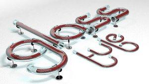 glass tube alphabet letters 3D model