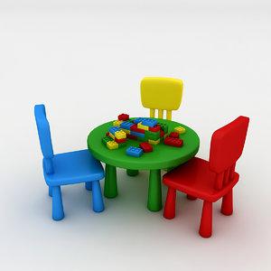 3D kindergarten table chair