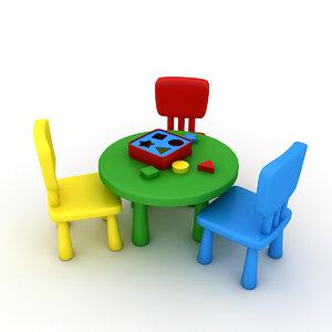 3D kindergarten table chair model
