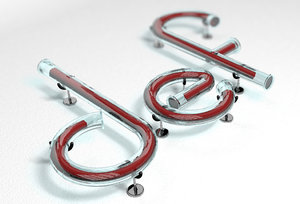 3D def letters glass tube model