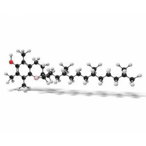 3D alpha tocopherol molecule c29h50o2 model
