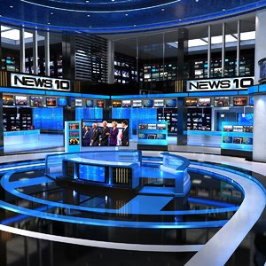 3D model virtual set news studio