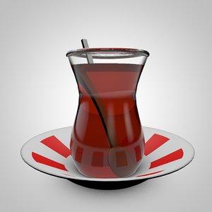 traditional turkish tea 3D model