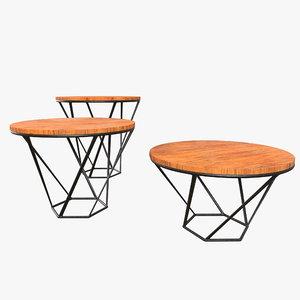 3D wood table set