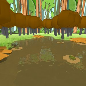 cartoon pond scene model