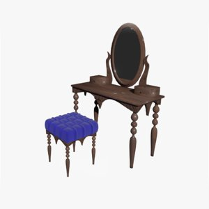 3D furniture ottoman dressing table model