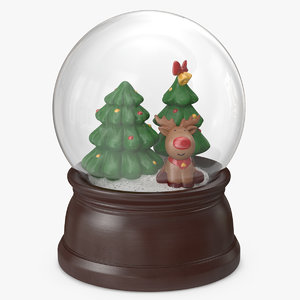 3D snow globe christmas decoration model
